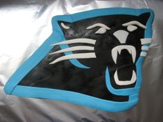 Carolina Panthers logo cake from PartyDelights.com