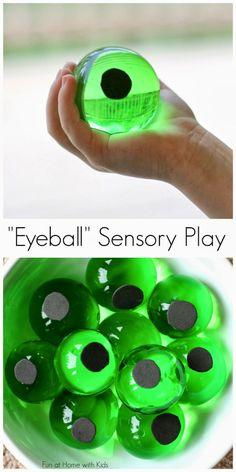 Cool! Halloween Eyeball Sensory Bin from Fun at Home with Kids