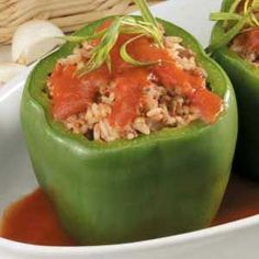 Traditional Stuffed Peppers...also chopped up the tops of the green peppers and mixed them in. Hubby loved it