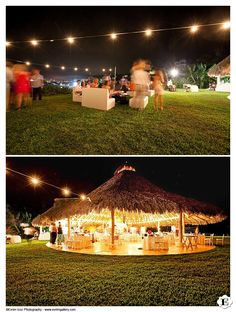 A shot of the wedding reception area at night outside of Don Pedro's Palapa in Sayulita, Mexico