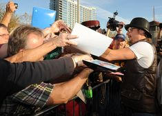 Recording Artist Kid Rock signs autographs after being inducted into the Nashville's Walk of Fame in 2009