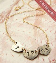 Custom Date Heart Necklace.