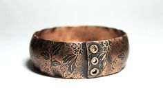 Etched Copper Bangle Bracelet Rustic Floral by TheBronzeFlower, $65.00