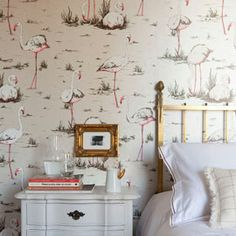 Heal's   Cole And Son Flamingos Wallpaper By Una Lindsay - Wallpaper - Wallpaper - Accessories