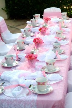 #pink wedding table ... tea party table @Chatterworks - add in a few hits of navy blue here and there. Maybe a napkin monogrammed in navy and some pink and navy menu cards?
