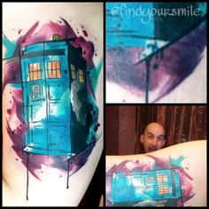 Love this watercolor tattoo of the Tardis