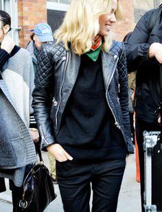black basic sweater   black jeans   biker jacket   triangle scarft // @dressmeSueBiker Jacket #newJacket #topfashion #topmode #ramirez701  #BikerJacket    2dayslook.com