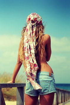 Boho jean shorts, boho chic, head scarfs, head wraps, long hair, beach styles, bohemian style, bohemian gypsy, hippie fashion