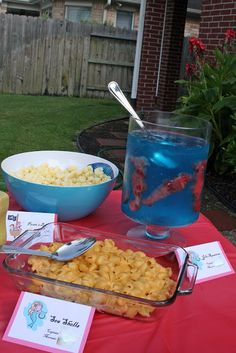 one clever mom: Mermaids and Pirates Party - Food! Macaroni And Cheese, Birthday Parti, Sea Shell, Foods, Pasta Salad, Parties, Shell Pasta, Aquarium, Pirat Parti