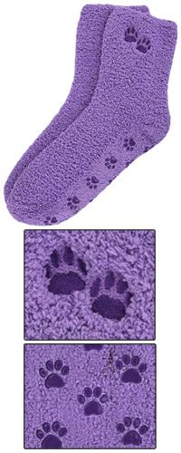 Purple Paw Slipper Socks at The Animal Rescue Site
