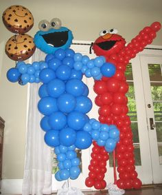 balloon decor, cooki monster, birthday sesame street, birthday parties, birthday balloons