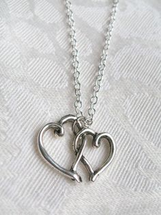 Double Entwined Heart Charm necklace  Sterling by ShadedLines, $15.00