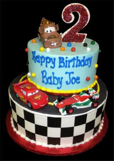 ... Mater the tow truck tops this cake off. Everything on this cake is