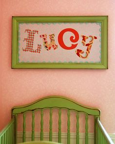 fabric letters, frames, framed fabric, names, kid rooms