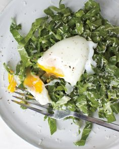 Brunch Time ~ Swiss Chard with Poached Egg Salad