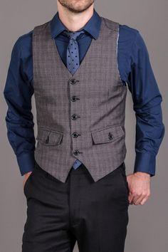 Sovereign Code Shirt, Tie, Vest 3 Piece Set Grey Plaid/Navy