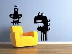 3 Eyed Funny Monsters kids room vinyl wall decal graphic set 20x20 Home Decor. $19,99, via Etsy.