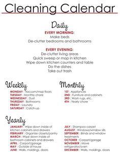Cleaning Calendar ....