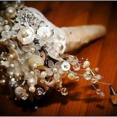 Vintage beaded & button wedding bouquet