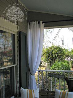 curtains on porch, curtains on deck, patio curtains diy, diy deck curtains, outdoor porch decor, diy deck decor, outside curtains diy, deck curtains diy, diy porch curtain