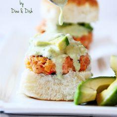 Salmon sliders with avocado sauce