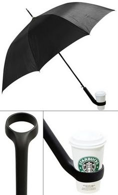 coffee lovers, genius products, seattle rain and coffee, umbrella, smart design, coffee cups, brilliant, awesom, drinks