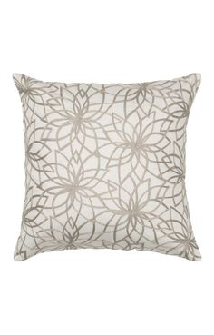 Beige Flower Embroidered Pillow