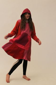 Bright Red Sweatshirt Dress with Hood and by Crispinaffrench, $195.00
