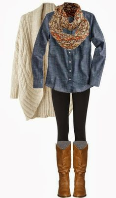 Light grey cardigan, scarf, shirt, leggings and boots combination for fall