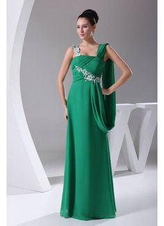 Fits Perfectly A Line Chiffon Criss Cross Green Prom Dresses Applique £109.99