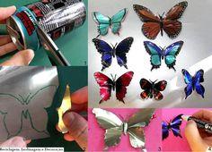 recycle recycl, butterflies, pop cans, art, craft idea, tin cans, soda, aluminum cans, diy
