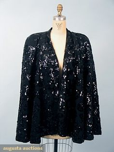 Black Sequinned Evening Cape, 1930-1940, Augusta Auctions, October 2006 Vintage Clothing & Textile Auction, Lot 739