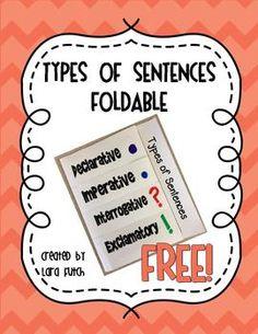 Types of Sentences Foldable {FREE}