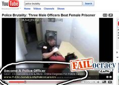 """Ad Placement Fail - Please brutality video with a """"Become a Police Office"""" Ad"""