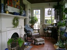 potted plants, french doors to sunroom, english cottag, garden, french sunroom, porch, decor idea, blues, green rooms