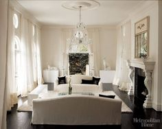 Decorating Rooms With White Walls - White Interior Design - ELLE DECOR decor, interior design, white living, living rooms, floors, white walls, white rooms, live room, curtain