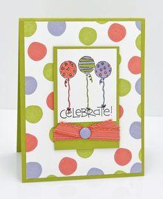 birthday card, polka dots, friends, circl, pet, color combinations, art stampin, balloons, stampin up cards