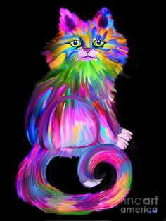 Finger Painted Cat Painting