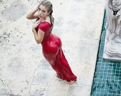 Red dress ass