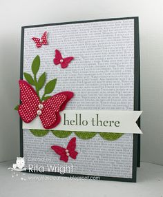 Rita's Creations: Posted 6-16-13 Stamps:  Happy Day  Ink:  Basic Gray Paper:  Basic Gray, Melon Mambo, Old Olive, various retired DSP Accessories:  Basic Pearls Tools: Big Shot, Beautiful Wings embosslit, Beautiful Butterflies die, Tasteful Trim die, Little Leaves die