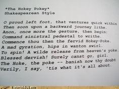 Shakespearean Hokey Pokey!