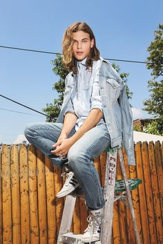 C-of-H Man's denim jacket and jeans with Michael Bastian's shirt, all in cotton. [Photo by Kristiina Wilson]