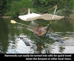 Hammock + floats + canopy = Personal Cruise Boat