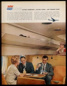 A long-gone seating configuration, evidently in Coach, aboard the DC-8 for United. The copy touts the extra day of vacation you get with your hours saved by jet travel vs. props. united airlines, vintag airlin, pan americana, karl aircraft, airplan unit, air travel, unit airlin