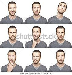 stock photo : young man face expressions