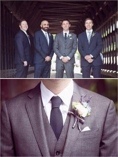 gray and navy groom looks #groomstyle http://www.weddingchicks.com/2013/11/18/new-england-wedding/