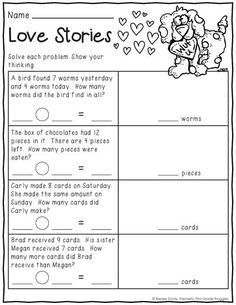 February Print and Do- a no prep math and literacy pack for 1st grade.