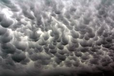 Mammatus clouds consist of many groupings of lobes on the underside of a cloud and are usually a sign of a coming extreme weather system.