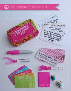 Compliment Kit • © shannon christensen for LDSNEST.com--made from altoid tins and fabric with free printables!