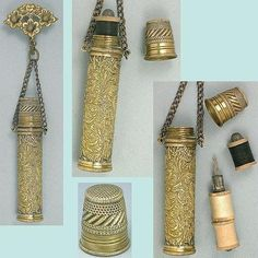 Antique Brass Chatelaine Sewing Kit w/ Thimble, Spools & Needle Case; Circa 1900's